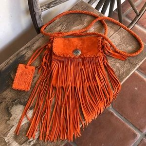 RALPH LAUREN COLLECTION Fringed Suede Western Bag!